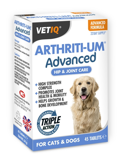 VetIQ Arhriti UM Advanced vitaminer, mineraler og  glucosamin 45 tabletter